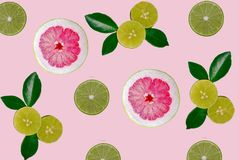 Pomelo and lime fruit isolated backround royalty free stock photos