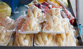 Pomelo pieces in plastic wrap Stock Photography