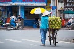 Pomelo seller in Saigon Stock Photography