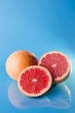 Pomelos en fondo azul Foto de archivo