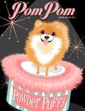 Pomeranian狗的被说明的海报 免版税库存图片