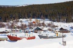 Pomeranian village. Winter Landscape Stock Photos