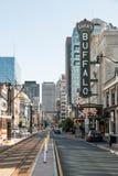 Pomeriggio del segno di Main Street della Buffalo Fotografie Stock