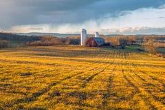 Pomeriggio di inverno sull'azienda agricola Fotografia Stock