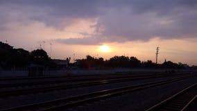 Pomeriggio in ferrovia Fotografia Stock