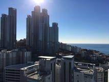 Pomeriggio un chiaro giorno dal mare in Haeundae, Busan, Corea del Sud Fotografia Stock Libera da Diritti
