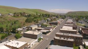 Pomeroy Washington in Garfield County Washington State Aerial View. 1425 people live in the small town of Pomeroy in eastern Washington State stock footage