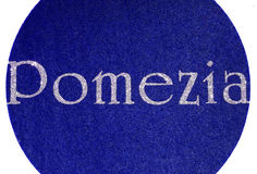 pomezia Written of an Italian City with glitter font Royalty Free Stock Images