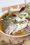 Pomfret fish, chinese food. Royalty Free Stock Images