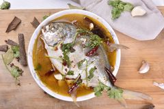 Pomfret fish, chinese food. Royalty Free Stock Photography