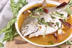 Pomfret fish, chinese food. Royalty Free Stock Photos