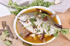 Pomfret fish, chinese food. Stock Images
