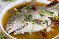Pomfret fish, chinese food. Stock Photos