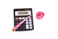Pomiarowa taśma i kalkulator od above Obraz Stock