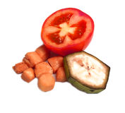 Pomidor, bananowy plasterek Obraz Stock