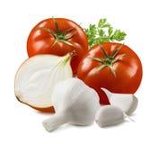 Pomidor, czosnek, cebula i ziele odizolowywający na białym tle, obrazy royalty free