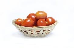 Pomidor na białym tle w koszu Fotografia Royalty Free