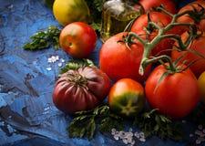 Pomidor, sól i pietruszka na błękicie, betonujemy tło zdjęcia royalty free