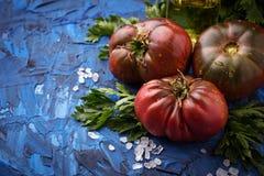 Pomidor, sól i pietruszka na błękicie, betonujemy tło fotografia royalty free