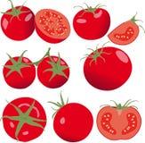 Pomidor Ustawia pomidory i plasterek odosobniony warzywo Zdjęcia Royalty Free