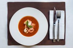 Pomidorowa owoce morza polewka zdjęcie stock
