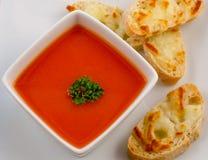 Pomidorowa polewka i serowa kanapka Obraz Royalty Free