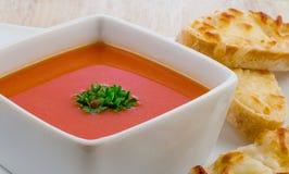 Pomidorowa polewka i serowa kanapka Zdjęcie Royalty Free