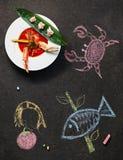 Pomidorowa polewka Z kraba i cytryny trawą Obrazy Royalty Free