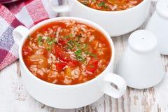 Pomidorowa polewka z ryż i warzywami w pucharze, odgórny widok zdjęcie stock