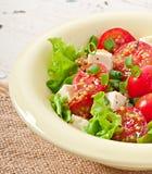 Pomidorowa sałatka z sałatą, ser Zdjęcie Stock
