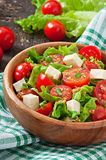 Pomidorowa sałatka z sałatą, ser Obraz Royalty Free