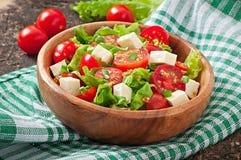 Pomidorowa sałatka z sałatą, ser Fotografia Royalty Free