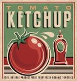Pomidorowego ketchupu projekta retro pojęcie Obrazy Stock