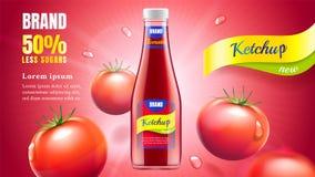Pomidorowego ketchupu reklama Zdjęcie Stock
