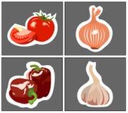 Pomidorowi cebulkowi czosnków pieprze Zdjęcia Stock