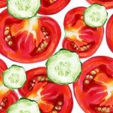 Pomidorowy bezszwowy akwarela wzór Fotografia Stock