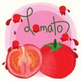 Pomidorowy colorwater projekta tło ilustracja wektor