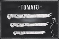 Pomidorowy nóż Wektorowej nakreślenie kredy ilustracyjny projekt Zdjęcia Royalty Free