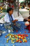 Pomidorowy sprzedawca w plenerowym rynku, Myanmar Obrazy Stock