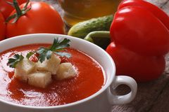 Pomidorowy zupny gazpacho z croutons Obraz Royalty Free