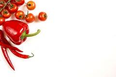 Pomidoru pieprz na białym białym tle Obrazy Royalty Free