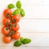 Pomidory i basil zdjęcie stock