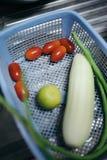 Pomidory, melon, cucamber na błękitnym koszu zdjęcie royalty free