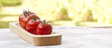 Pomidory na drewnianym talerzu Obrazy Royalty Free