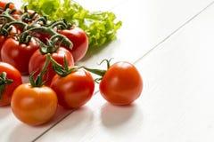 Pomidory na tle greenery na białym drewnianym stole Zdjęcia Royalty Free