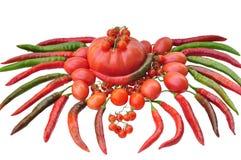 Pomidory odosobneni i chili gorący pieprze, Zdjęcie Royalty Free