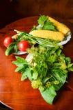 Pomidory, ogórek, koper, czosnek, zalewy i kukurudza, Obrazy Stock