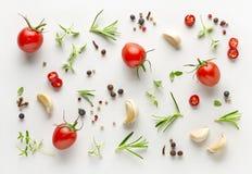 Pomidory, różnorodni ziele i pikantność obrazy royalty free
