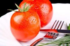 Pomidory w talerzu Obrazy Stock