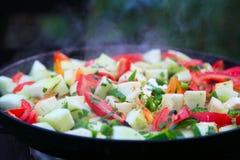 Pomidory, zucchini, peper, cebula gotująca Zdjęcie Stock